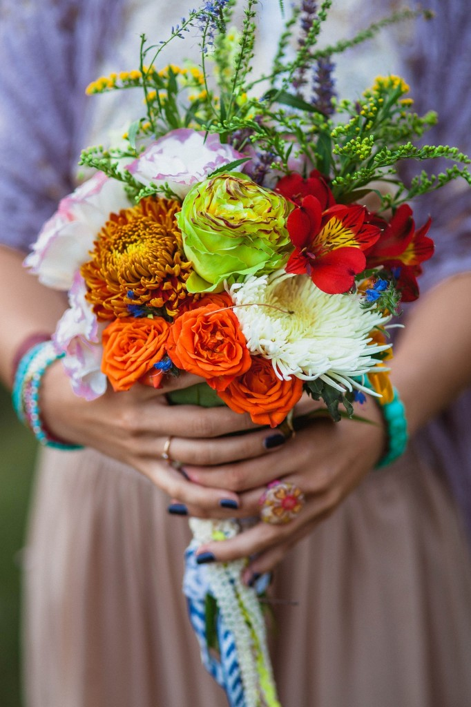 Colourful bouquet wedding